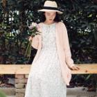 Open Front Long Cardigan Light Pink - One Size