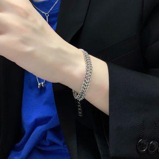 Mesh Chunky Chain Stainless Steel Bracelet Silver - 16.5cm