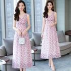 Flower Print Sleeveless A-line Midi Chiffon Dress