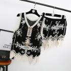 Set: Lace Panel Embroidered Sleeveless Top + Shorts