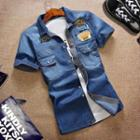 Applique Washed Short-sleeve Denim Shirt
