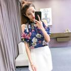 Cutout Shoulder Flower Print Short-sleeve Top
