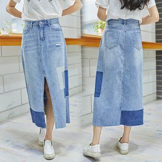 Panel A-line Midi Denim Skirt