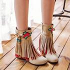 Fringed Embroidered Short Boots