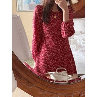 Puff-sleeve Floral Print Dress One Size