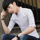 Button-down Collar Striped Shirt