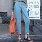 Fray-hem Straight-cut Cropped Pants