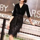 3/4-sleeve Tie Waist Fringed Evening Dress