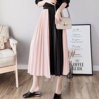 Mismatch Midi A-line Pleated Skirt