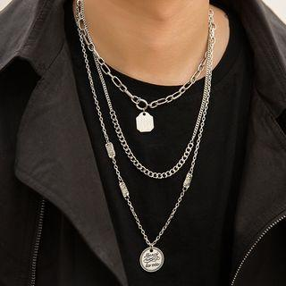 Coin Pendant Layered Necklace 589 - Coin Pendant Layered Necklace - One Size