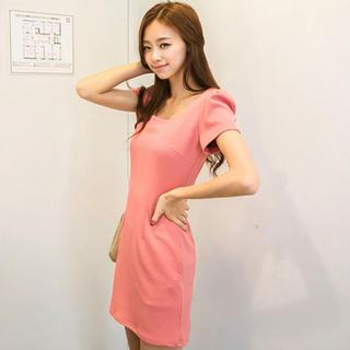 Puff-sleeve Textured Dress