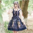 Lace Trim Printed Strappy A-line Dress