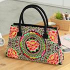 Flower Embroidered Shoulder Bag Black - One Size