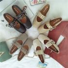 Studded Square-toe Buckled Flats