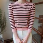 Button-back Stripe Knit Top