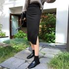 Elasticized-waist Slit-side H-line Skirt