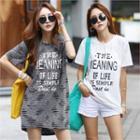 Lettered Slashed Longline T-shirt