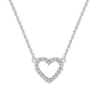 18k White Gold Heart Shape Diamond Accents Necklace (0.15cttw)