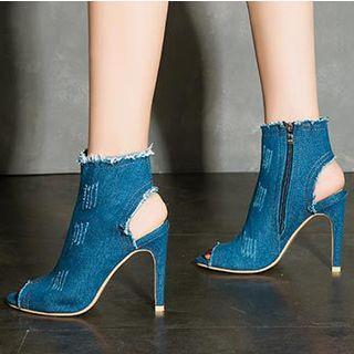 Peep Toe Heeled Denim Boots