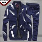 Set: Feather Print Zip Jacket + Drawstring Sweatpants