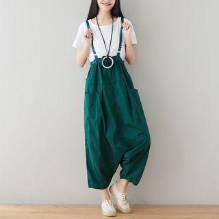 Crop Suspender Harem Pants Green - One Size