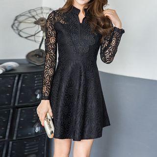 Lace Panel Long Sleeve A-line Dress