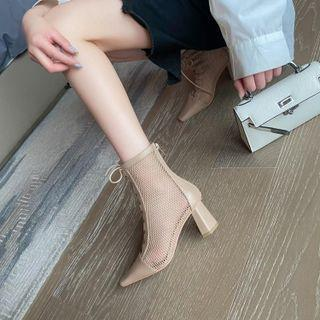 Pointy-toe Mesh Panel Lace-up Chunky Heel Short Boots