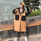 Plain Faux Suede Hooded Coat