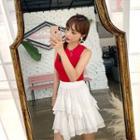 Lace-trim Layered-frill Miniskirt White - One Size
