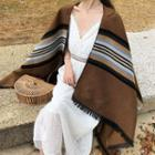 Striped Fringed Shawl Stripes - Brown - One Size