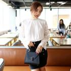 Long-sleeve Paneled Top / Buttoned Pencil Skirt