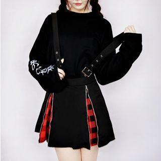 Double-zip Mini A-line Suspender Dress Black - One Size