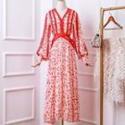 Long-sleeve Printed Lace Trim Maxi Dress