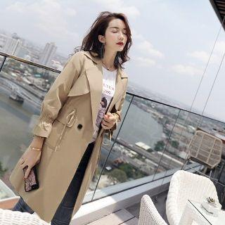 Double Button Plain Drawstring Trench Coat