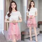 Set: Lettering T-shirt Dress + A-line Crochet Lace Skirt