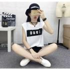 Letter Colour Block Sleeveless T-shirt