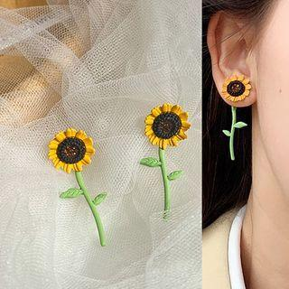 Glaze Sunflower Dangle Earring 1 Pair - Earrings - Silver - Sunflower - One Size
