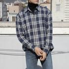 Brushed-fleece Boxy-fit Plaid Shirt