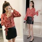 V-neck Printed Flared-cuff Blouse