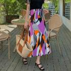 Multicolor-patterned Long Skirt