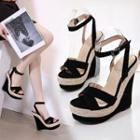 Ankle Strap Straw Wedge Sandals