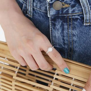 Rhinestone Ring Silver - One Size