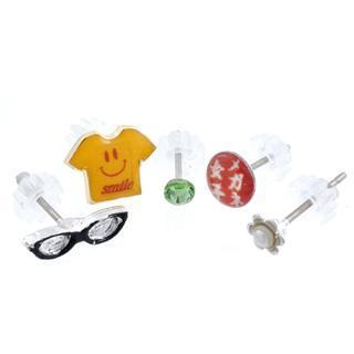 T-shirt With Smile & Glasses Earrings