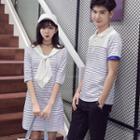 Striped Polo Shirt / Short-sleeve Striped Dress