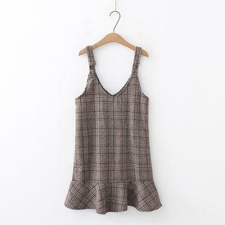 Plaid A-line Jumper Dress Coffee - One Size