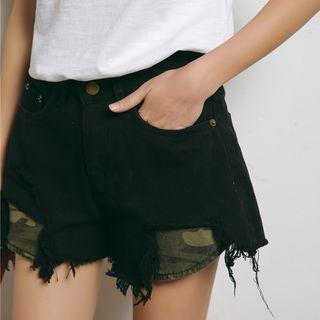 Distressed Panel Denim Shorts