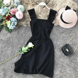 Frill-sleeve Plain Dress