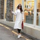 Lettering Hooded Long Pullover Dress