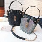 Sequined Studded Satchel