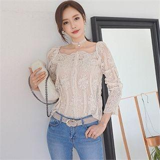 Set: Square-neck Lace Sheer Blouse + Camisole Top